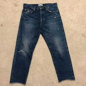 Zara Women's Boyfriend Dark Distressed Jeans
